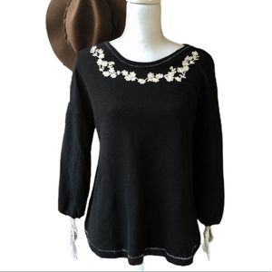 Caslon Embroidered Floral Knit Top